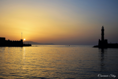 Chania's Old Harbor At Dusk..